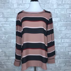 Loft striped long sleeve blouse